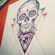 Old School Tattoo - Illuminati geometric skull by OldSchoolInker