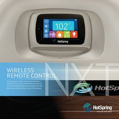 Adjust Hot Spring Highlife NXT spa functions, such as lighting and music, while you're in the spa or from up to 30 feet away. Then, rest the remote safely in its bartop docking station.
