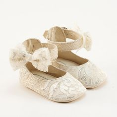 Baby shoes from lacecovered beige leather by Vibys on Etsy. , via Etsy.