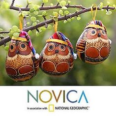 @Overstock - These original handmade ornaments are designed by Peru's Margarita and Martha. The decorative accessory set features six Christmas owls wearing Santa Claus hats.http://www.overstock.com/Worldstock-Fair-Trade/Set-of-6-Mate-Gourd-Christmas-Owls-Ornaments-Peru/4464272/product.html?CID=214117 $48.99