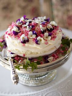 violet or pansy & other edible blooms topping meringue & creme cake