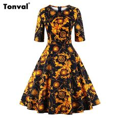 e5b84994e7110 Tonval Half Sleeve Vintage Autumn Tunic Dress Women Christmas Floral Retro  Hepburn Style 2017 Plus Size Winter Swing Dresses-in Dresses from Women s  ...
