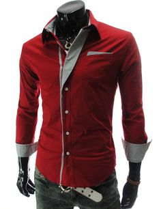 ::::Theleesshop:::: (N320-RED) Mens premium Stripe Patch Fitted Dress Shirts