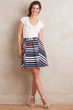 LOVE LOVE LOVE Go with a white top to make sure that it isn't too fussy.  Stripe Flats Skirt