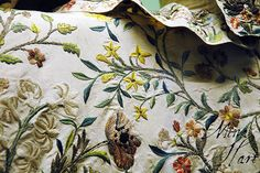 embroidered rococo detail, c. 1700's court dress