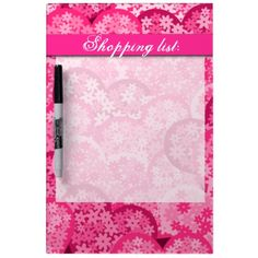 Cute floral hearts in pink dry erase white board