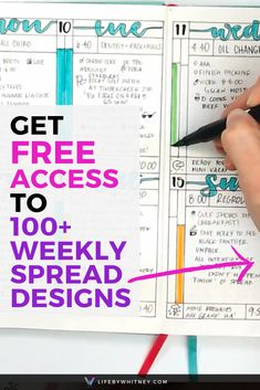 Weekly spread bullet journal printables, how-to's, videos and measurements.