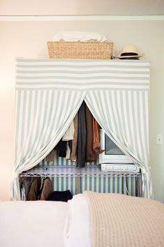 baker's rack or similar such thing w cute curtains to store & hang all my stuff!  Style At Home: Samantha Of Could I Have That? | theglitterguide.com