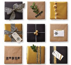 It only takes few items and some neutral paper to create an endless number of stunning gift-wrapping combinations. The first step is to pick a colour palette and stick with it. Brown, gold and black makes mixing and matching easy.