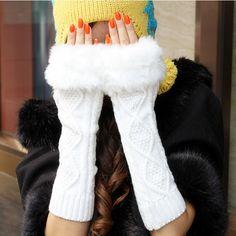 nieuwe 2014 gebreide plaid patroon nep bont half vinger handschoenen herfst winter warme dikke langer dikker sectie wol handschoen(China (Mainland))