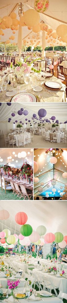 Paper lanterns to decorate venue keeping it playful. Wedding Themes, Wedding Designs, Wedding Events, Our Wedding, Dream Wedding, Wedding Stuff, Weddings, Tent Decorations, Reception Decorations