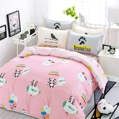 Elegant Pastel Shiny Pink White Teal and Red Animal Panda Balloon Monogrammed Print Girls Cotton Twin, Full Size Bedding Sets Teen Bedding Sets, Girls Bedroom Sets, Double Bedding Sets, Red Bedding, Bedding Sets Online, King Bedding Sets, Luxury Bedding Sets, Bedroom Themes, Bedroom Decor