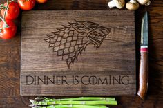 Game of Thrones Cutting Board Gift Dinner is Coming by EtchCraft