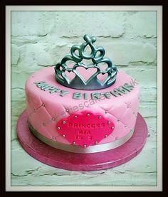Princess tiara cake - tiara airbrushed silver