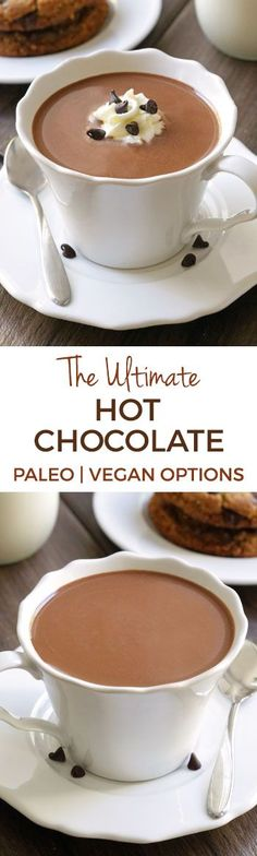 Made with just three ingredients, this ridiculously thick, creamy and rich hot chocolate is truly the ultimate hot chocolate. With a paleo, vegan and dairy-free option. #paleo #vegan #chocolate #recipe #glutenfree