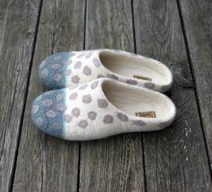 Felted slippers polka dots unisex wool clogs by AureliaFeltStudio
