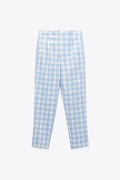 HIGH-WAISTED GINGHAM PANTS | ZARA United States Gingham Pants, Zara United States, Welt Pocket, Pajama Pants, Blue And White, Gingham Check, Trousers, Fashion, Trouser Pants