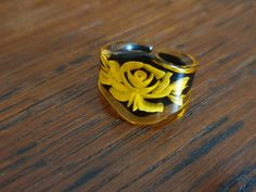 Ring RC lucite, 50's Enamel, Plastic, Rings, Accessories, Vintage, Collection, Vitreous Enamel, Ring, Enamels