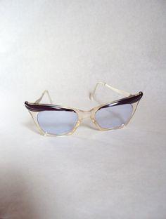 Plum 1950s blue tinted cat eye glasses