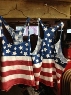 DIY flag shirt - to leave areas white use beeswax and use a cold water dye so that the wax will not melt, remove the wax by placing it between layers of paper towels and ironing. Replace the towels frequently and eventually enough of the wax will come out so that you can remove the rest in the washing machine