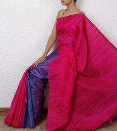 Pink Handwoven Kanjivaram Saree with Vertical Stripes