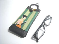 For lady eyeglass case with lanyard and pocket by Lunica