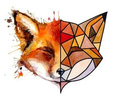 Try photo from magazine cut in half and draw/paint abstract representation for other half. Geometric Drawing, Geometric Art, Cute Drawings, Animal Drawings, Fox Art, Art Inspo, Painting & Drawing, Amazing Art, Watercolor Paintings