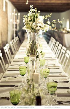 modern white & green barn wedding