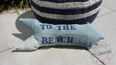 To the beach. Leuk kussen voor de caravan, gemaakt van een oude spijkerbroek. Kijk op www.101creaties.nl voor de uitleg. Caravan, Sweatpants, Beach, Fashion, Moda, The Beach, Fashion Styles, Beaches, Fashion Illustrations