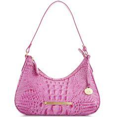 Brahmin Melbourne Lacy Shoulder Bag (13.270 RUB) ❤ liked on Polyvore featuring bags, handbags, shoulder bags, lace purse, croco handbags, black shoulder bag, brahmin and lace handbag