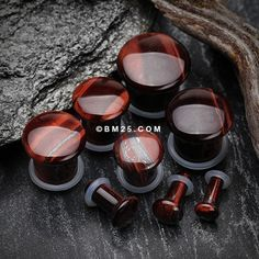 A Pair of Red Tiger Eye Convex Stone Single Flared Plug
