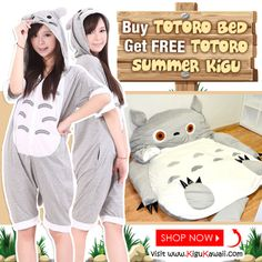 """GET YOUR FREE TOTORO KIGURUMI NOW!  For every Giant Totoro Sleeping Bed purchased, you get a FREE Totoro Kigurumi as a bonus! Enter Discount Code: """"FREEkigu"""" See More Details: http://us6.campaign-archive1.com/?u=115785b8ac7273e9f1bb3b0b2&id=c25a613489   Kigu Kawaii 