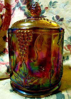 Vintage covered biscuit jar Carnival glass by StilletosOnADirtRoad,