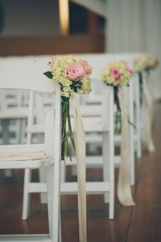Pink Rose and White Hydrangea Ceremony Chair Markers