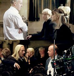 The Malfoys, on set. Harry Potter Fandom, Harry Potter Universal, Severus Snape, Draco Malfoy, Always Hp, David Yates, Jason Isaacs, Fantasy Beasts, Fantastic Beasts And Where