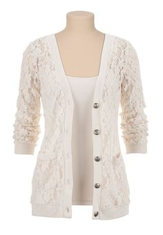 Floral Lace Grandpa Cardigan - maurices.com
