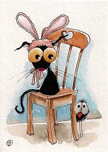 Haha... poor Stressie Cat doesn't wear bunny ears very well! Enjoy!