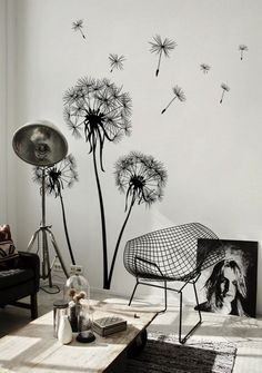 Amazing Summer Wall Murals with diamond chair