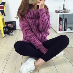 Woman Turtleneck Sweaters Casual 2015 New Winter Warm Sweater Korean Style Women's Knitted Pullovers Female Clothing(China (Mainland))