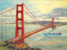 """San Francisco Painting Original Oil Painting """"Golden Gate Bridge on Windy Day"""" by KimStenbergFineArt, $300.00"""