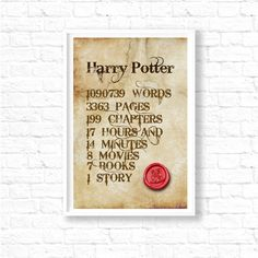 SALE! Harry Potter poster, art print, illustration, harry potter kids room, harry potter stats, harry potter book gifts, wall art, ET211 by InstantGoodVibes on Etsy