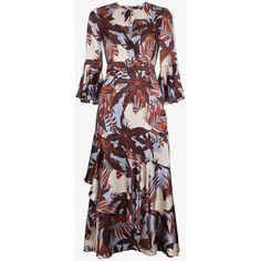 Erdem Florence Silk Floral Dress (€1.485) ❤ liked on Polyvore featuring dresses, erdem, flower print dress, floral print dress, floral day dress and red floral dress