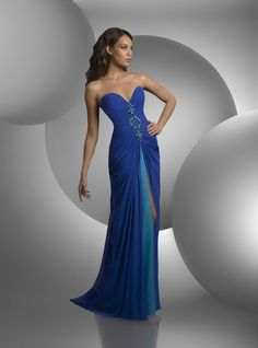 Gown by Shimmer - Strapless, sweetheart bust, shirred bodice, beaded center front, center slit with chiffon underskirt