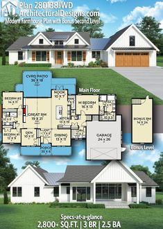 House Plan 280138JWD gives you 2,800+ square feet of living space with 3 bedrooms and 2.5 baths. AD House Plan #280138JWD #adhouseplans #architecturaldesigns #houseplans #homeplans #floorplans #homeplan #floorplan #houseplan Cottage House Plans, New House Plans, Modern House Plans, Cottage Homes, Modern Farmhouse Plans, Farmhouse Homes, Rocking Chair Porch, Beautiful Home Designs, House Layouts