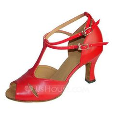 Dance Shoes - $29.99 - Women's Real Leather Heels Sandals Latin Ballroom With T-Strap Buckle Dance Shoes (053021753) http://jjshouse.com/Women-S-Real-Leather-Heels-Sandals-Latin-Ballroom-With-T-Strap-Buckle-Dance-Shoes-053021753-g21753