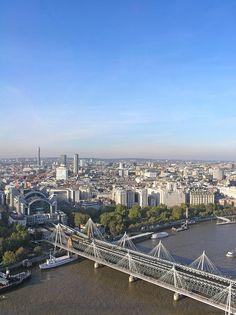 Charing Cross Station with train bridge viewed from London Eye, London