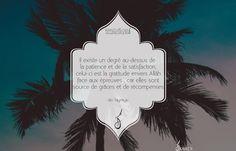 Il existe un degré au-dessus de la patience et de la satisfaction, celui-ci est la gratitude envers Allâh face aux épreuves , car elles sont source de grâces et de récompenses -Ibn Taymiya-