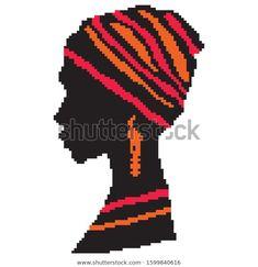Pixel Pattern, Pattern Art, Afro, Black Woman Silhouette, Tapestry Crochet Patterns, Filet Crochet Charts, Weaving Designs, Beading Tutorials, Cross Stitching