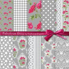 "Shabby digital paper : ""Fabulous Grey"" floral digital paper with purple / pink roses on silver, grey background, decoupage paper, lace"