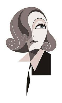 Greta Garbo | Illustrator: Fabio Paiva | http://amazingcolorfulrainbows.blogspot.com